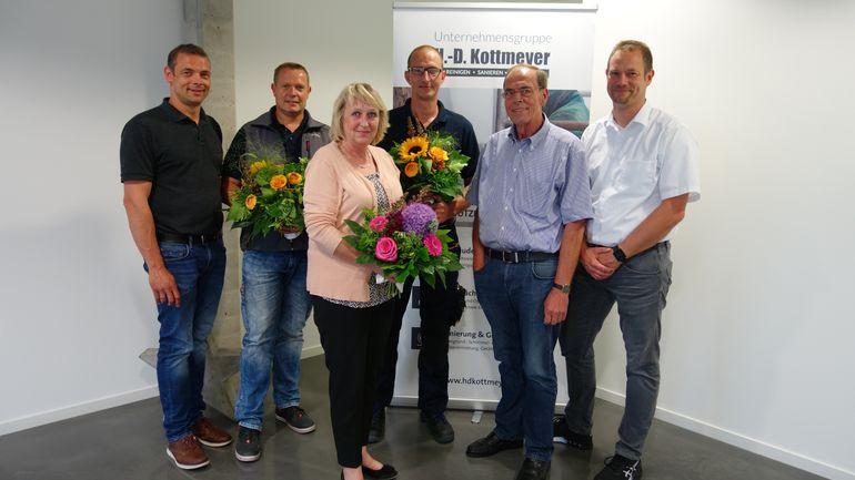 Von links: Sven Kottmeyer, Dirk Stolle, Ingrid Brooking, Jörg Küpper, Hans-Dieter Kottmeyer und Jörg Kottmeyer.